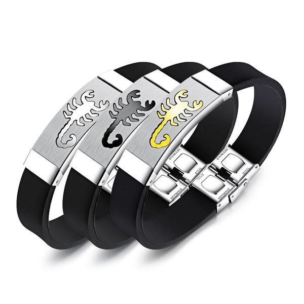 Braccialetto del polsino del silicone dei braccialetti di Scorpion dell'acciaio inossidabile unico per i ragazzi Regalo sportivo dei gioielli del braccialetto dei polsini sportivi degli uomini