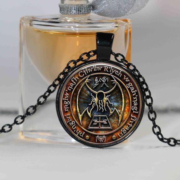 1pcs Cthulhu R'lyeh Sigil H.P. Lovecraft pendant jewelry Glass Cabochon Necklace