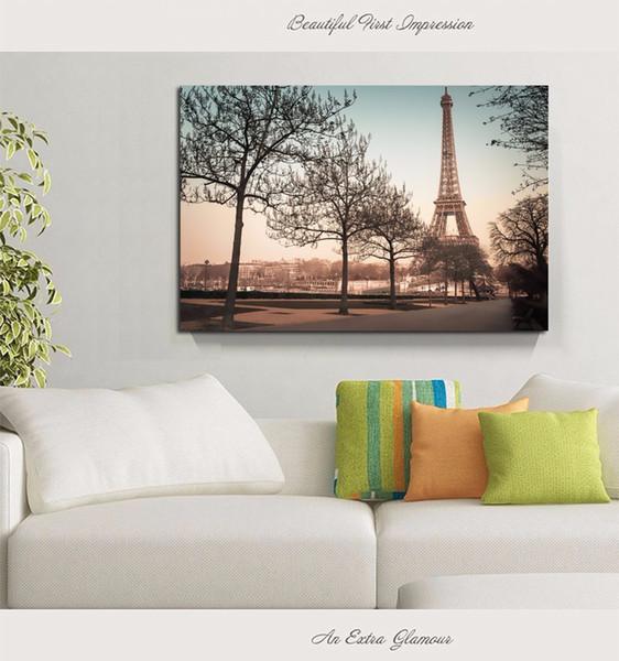 2016 Sıcak Satmak için manzara tek boyama Kule Modern Ev Duvar Dekor ağaçları Sanat HD Baskı Boyama