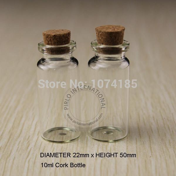50 unids 10 ml Pequeñas Botellas De Vidrio Frascos Frascos Con Corcho Tapones Tapón Decorativo Corcho Minúsculo Mini Wising Botella De Vidrio Para Colgantes