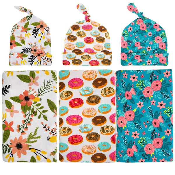 Doughnut Blankets Winter Warm Blankets Flowers printing infant Swaddling cartoon baby bed sheet Sleeping Bag with hat