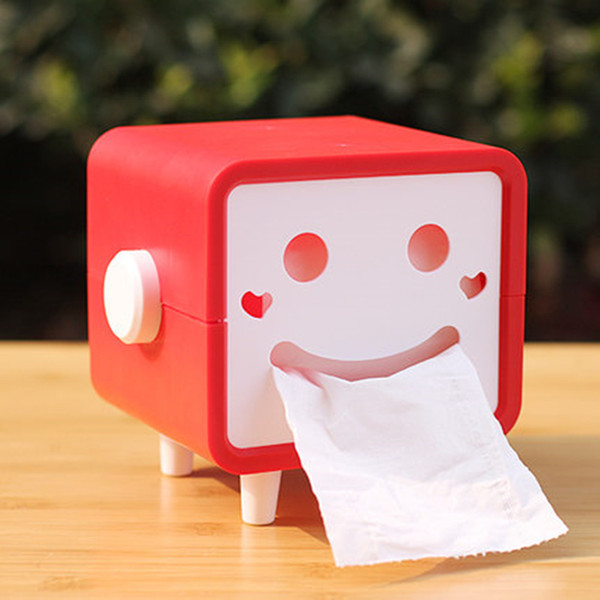 Wholesale- DIY cute cartoon smiley square rotatable roll paper towel boxes rectangular tissue pumping storage box toilet roll holder tray