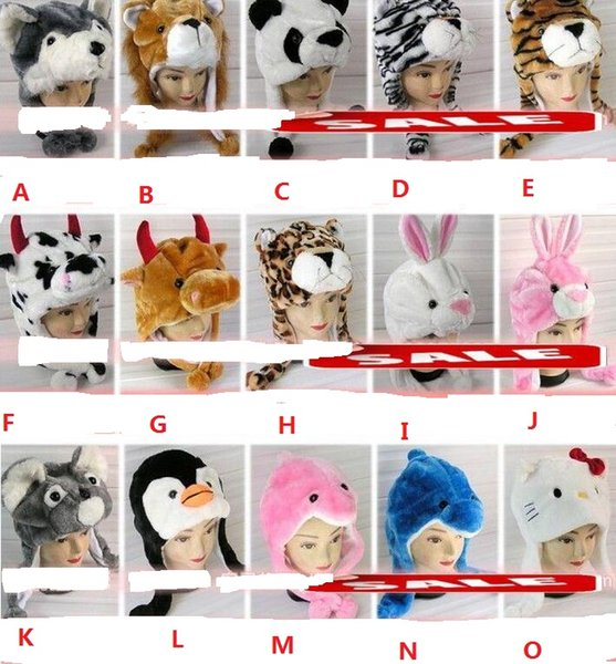 Cartoon Animal Hat Long Fluffy Plush Winter Cap Mask Scarf Hood 3D Earmuff Headgear Dance Party Beanie Hats Caps props Fur Costume Halloween