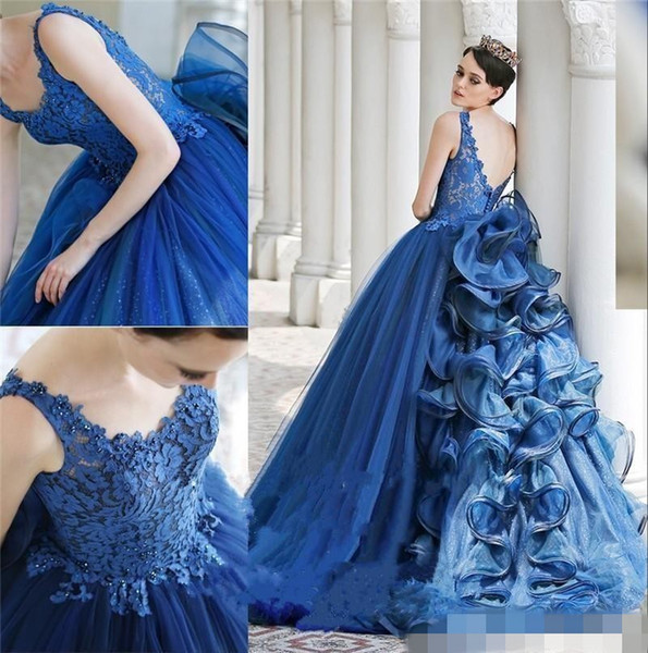 Luxury Riyal Blue Abiti da sera lunghi Scoop Neck Backless Runway Fashion Ball Ball Gown Sweep Train Zuhair Murad Prom Dress per party Wear