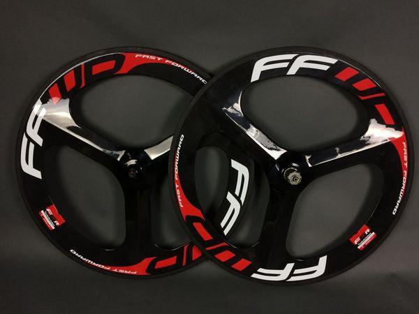FFWD Three spokes road bike wheels full carbon fibre wheel 700C wheelset Time Trial Triathlon clincher tubular fix gear available