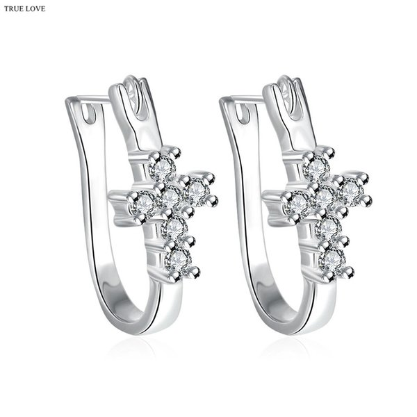 Fashion cross stud earrings 925 sterling silver plated & zircon charm jewelry for women free shipping selling Christmas gift