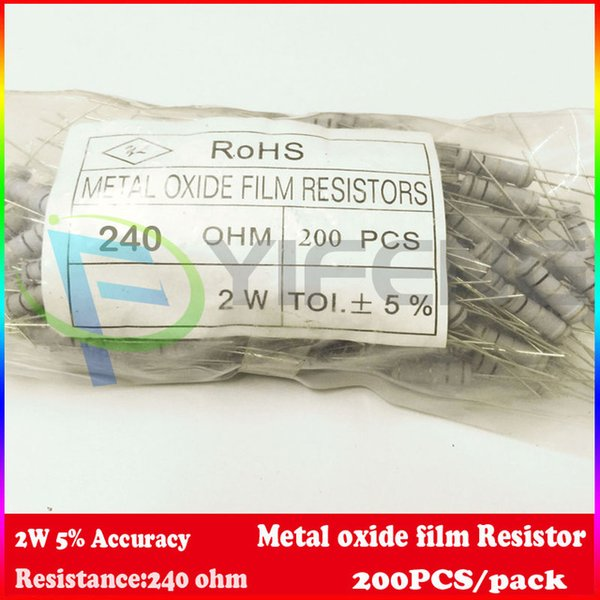 Wholesale- New! (200pcs/lot) 240 Ohm 2W Watt 5% Carbon Film Resistor