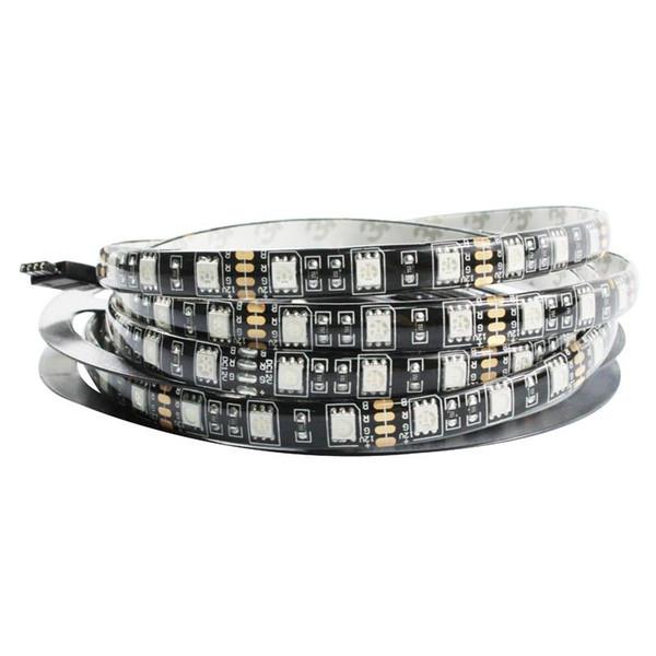 Black PCB 5050 LED Strip Waterproof IP65 Black PCB board DC 12V flexible light 60leds/m 5m/lot, White,Warm White,Blue,Red,RGB