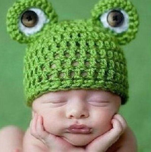 Cartoon Baby Hut Häkelarbeitknit Infant Green Frog Mützen Baby Foto Kostüm Zubehör Neugeborenen Fotografie Requisiten Baby Geschenk