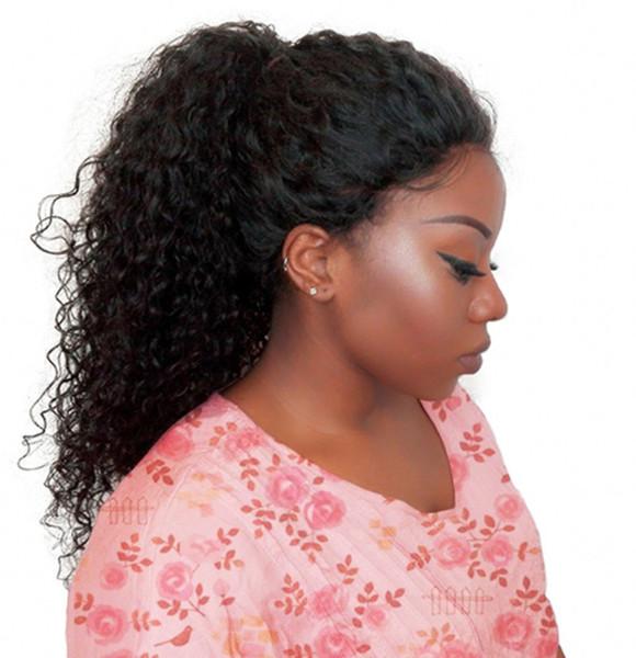 360 Dantel Frontal Peruk Ön Koparıp Bebek Saç Ile Perulu Kinky Kıvırcık Remy İnsan Saç Peruk Siyah Kadınlar için FDSHINE