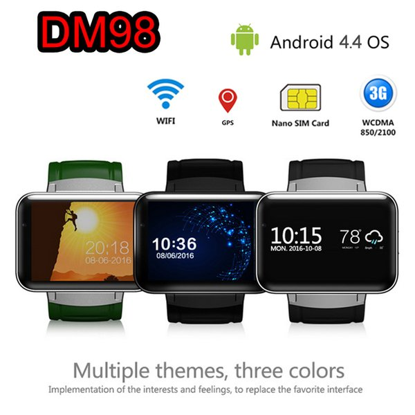 3G Android Smart Watch Phone MTK6572 Quad Core DM98 Bluetooth Smartwatch Supports Wifi GPS Sports Watches Wristwatch Smartphone DHL