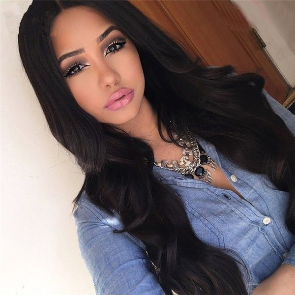 """8-32"""" Body Wave Wavy Lace Front Human Hair Wigs Middle Part Virgin Brazilian Human Hair Glueless Full Lace Wigs 130% Density Bleached Knots"""