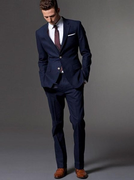 Kostuumvest Op Jeans.2019 Wholesale 2017 Dark Blue Wedding Suits For Men Bespoke Light Navy Blue Men Slim Fit Suit Wedding Tuxedos For Menjacket Pants Vest Is Op From