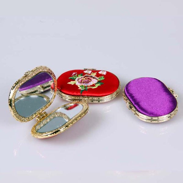Ladies make up mirror, embroidered mirror, double face make-up mirror, wholesale factory, direct marketing