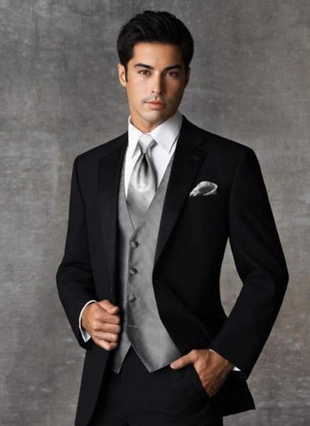 High Quality Two Buttons Black Groom Tuxedos Notch Lapel Groomsmen Mens Wedding Dresses Prom Suits (Jacket+Pants+Vest)