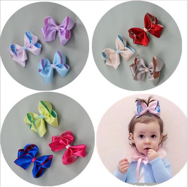 15% off! New sale 3.5 inch Double stereo Bowknot Hairpins 9 colors Baby bow Hair Clip Kids Hair Accessories ribbon Bow Hair Clip 50pcs/lot