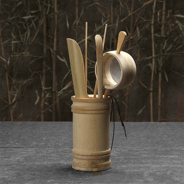 Tea set bamboo A set of four Tea Accessories Clip Spoon hand made all natural Crafts no paint Crafts