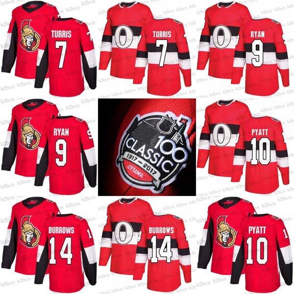 2017 100 классический Ottawa Senators Jerseys 10 Tom Pyatt 7 Kyle Turris 14 Alex Burrows 9 Бобби Райан пользовательские красный хоккей Джерси