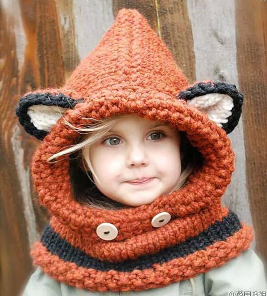 2016 новый милая лиса уха зимние ветрозащитный шляпы и шарф набор для детей крючком головные уборы мягкий теплый шапочки детские зимние шапочки для мальчиков девочек