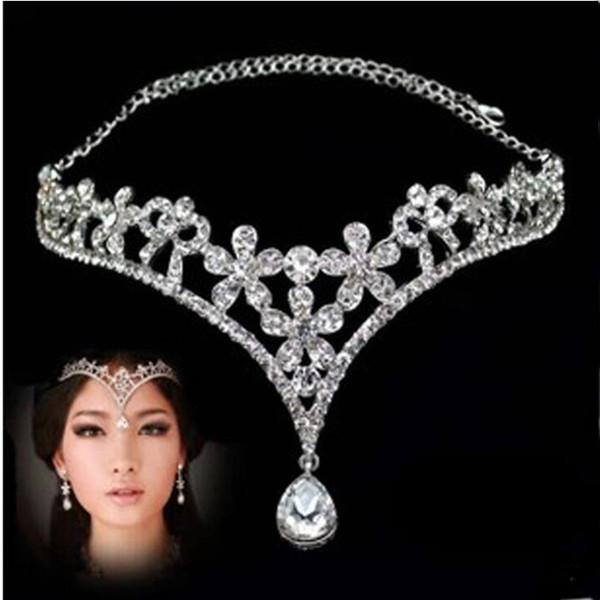 Crystal Bridal Headpiece Chain Wedding Rhinestone Water drop Flower Tiara Crown Headband Frontlet Bridesmaid Hair Jewelry