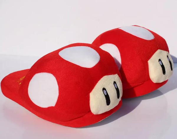 "Hot sale Super Mario Bros Red Mushroom Plush Slippers Adult Indoor Warm Slipper 11""28cm Free shipping Retail"