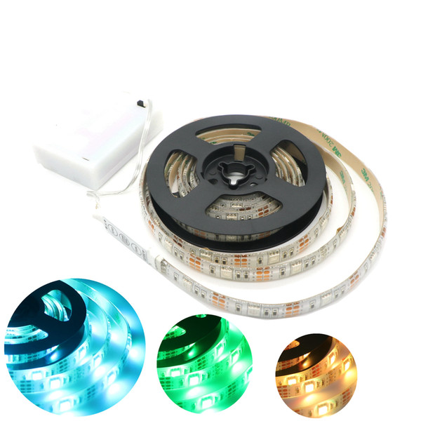 Edison2011 Hot 5050 30leds / m LED strip led Battery Box Strip Light alta luminosità 0.5-2M Nastro flessibile TV Home illuminazione natalizia