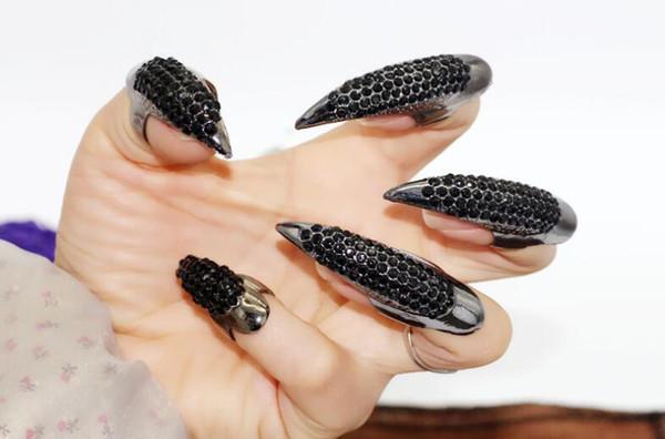 Lot de 5pcs Punk Style Strass Eagle Claw Ongle anneaux Noir