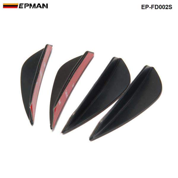 fibra 4pcs ajuste universal del parachoques delantero del labio Splitter Aletas Cuerpo Alerón Canard Valence Chin carbono Color EP-FD002S