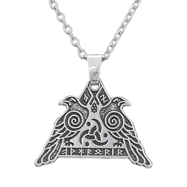 My Shape Religious Jewelry Series Antique Silver Valknut Odin 's Raven Necklaces for Man and Woman