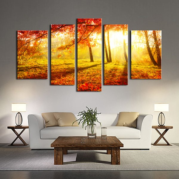 Canvas Painting Wall Art 5 Panel The Picture For Home Decoration Beautiful Maple Trees And Leaves Foggy Forest Landscape Forest Print