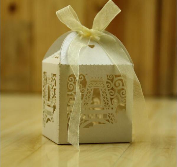 Großhandel 2017 Romantische Eiffelturm Hochzeit Geschenk Box Elegante Luxus Dekoration Laser Cut Party Süße Gefälligkeiten Gast Geschenk Hochzeit