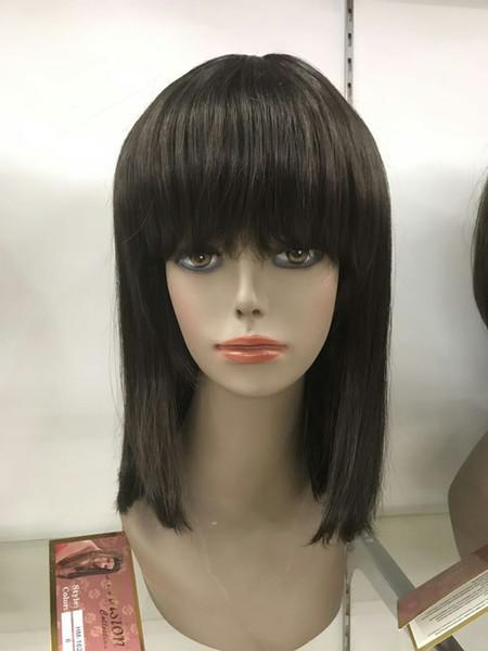 free shipping beautiful new new fashion browm 6# human hair 40cm length skin dot top woman's straight wig