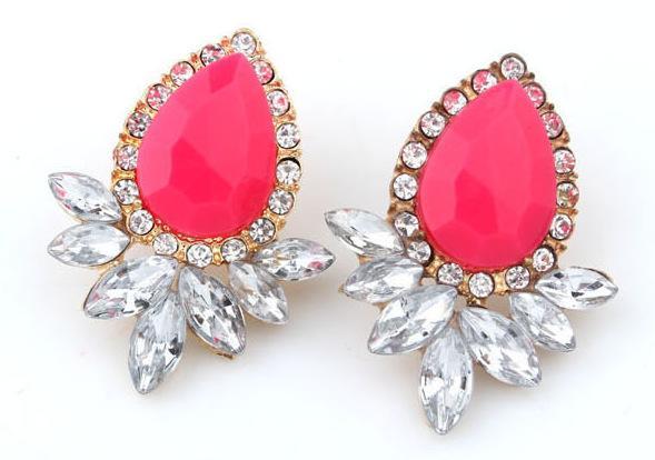 Korean Diamond Earrings Neon Color Gemstone Stud Earrings Women Fashion Jewelry Girls Big Stud Earring 10PRS Party Earring Free Shipping