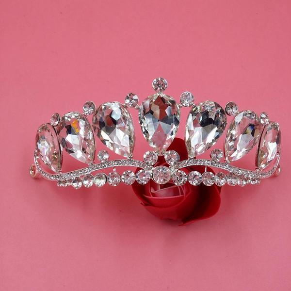 Große Clear Crystal Hochzeit Kronen für Brides Perlen Hochzeit Haarteile Bridal Haarschmuck Floral Crown Fixed mit schwarzen Pins