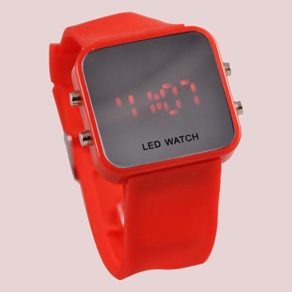 Hersteller Großhandel Korea heiße Art führte Kunststoff Spiegel Uhr Herren und Frauen Freizeit Gelee Farbe LED Spiegel verkaufen wie heiße Kuchen