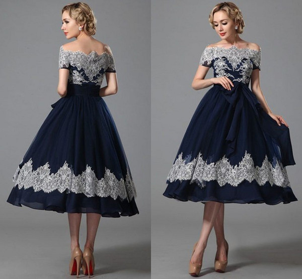 Vintage Blue Tea Length Dresses