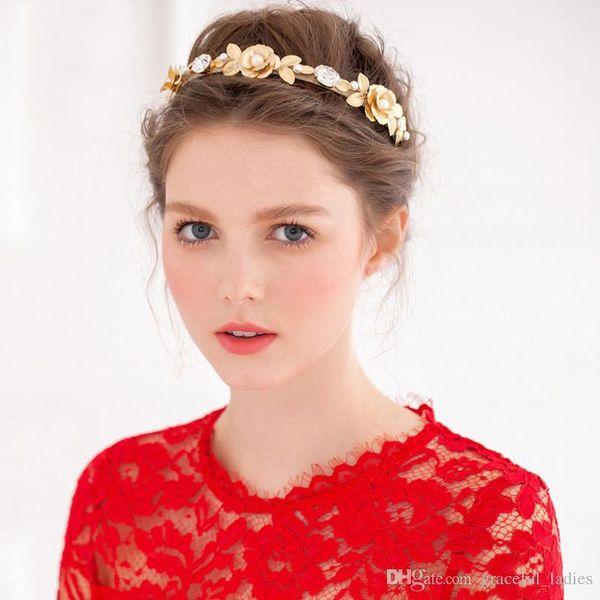 Gold Flower Bridal Hair Accessories Crystal Handmade Flower Hair Clips For Girls Headband Acessorio Para Cabelo Wholesale Hair Accessories