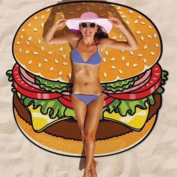 20 Designs Round Donut Pizza Hamburger Towel Beach Cover Ups Sexy Beach Towel Thin Chiffon Swimsuit Cover Up Bohemian Towel Yoga Mat