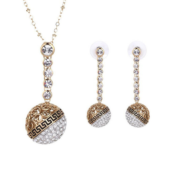 Round Ball Crystal Necklace Earrings Jewelry Sets Fashion 18k Gold Plated Lady Jewelry accessory For Best Gift 5set/lots Free shipping 61152