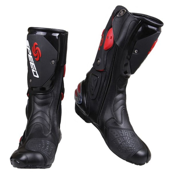 Wholesale PRO-BIKER SPEED BIKERS Motorcycle Boots Moto Racing Motocross Off-Road Motorbike Shoes Black/White/Red Size 40/41/42/43/44/45