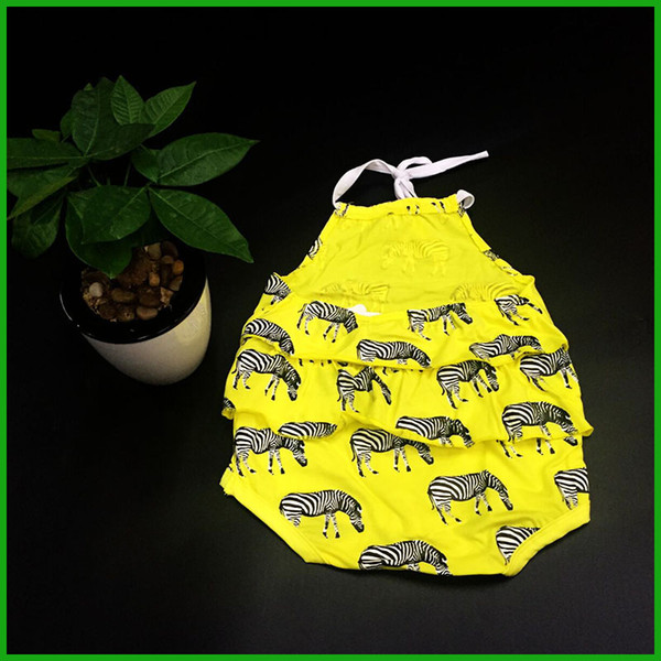 baby girls rompers zebra animal print yellow solid color girls layered dress rompers fashion lovely kids jumpsuits infant toddler outfits