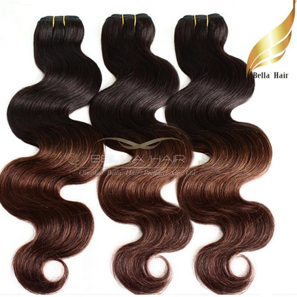 Ombre Hair Extensions Brazilian Body Wave Wavy Human Hair Weft Queen Hair Products Dip Dye T#1B/#4 Color Ombre Human Hair Bella Hair
