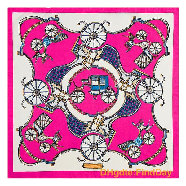 Bufandas de seda de 60 cm * 60 cm sarga bufanda clásica pañuelo de seda pequeño cuadrado carro de la señora