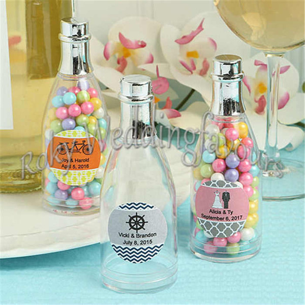 FREE SHIPPING 50PCS Plastic Champagne Bottle Favors Holder Bridal Shower Birthday Party Supplies Wedding Souvenir Candy Package Box