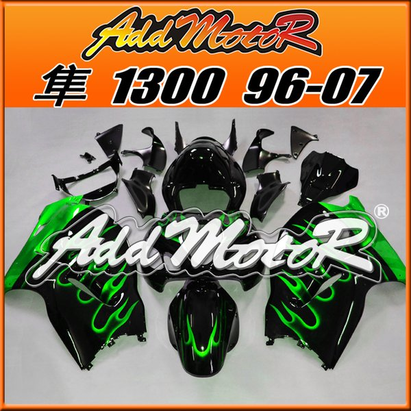 Best Selling Fairings Addmotor Injection Mold Plastic For Suzuki GSXR1300 Hayabusa 96-07 Flames Green Black S3607 +5 Free Gifts Best Chioce