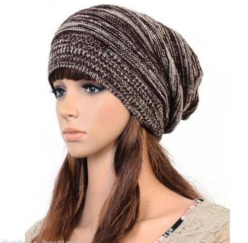 5 Colors Mens Ladies Knitted Woolly Winter Oversized Slouch Beanie Hat Cap Unisex