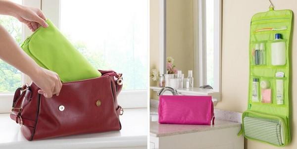 3 colores salud belleza verde rosa azul colgante organizador bolsa plegable maquillaje cosmético caso de almacenamiento de viaje bolsas de aseo