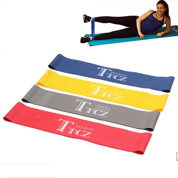 Al por mayor-1 pc Banda elástica Banda de resistencia a la tensión Ejercicio Loop Crossfit Fuerza Entrenamiento con pesas Fitness 4 colores