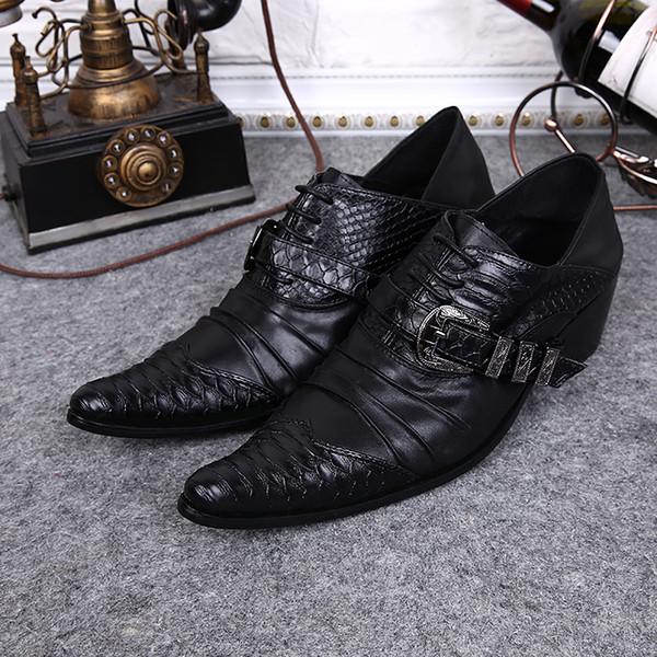 Großhandel Herren SchuheBusiness Italien Classic Lederfalten Oxford Schuhe Marken Top Schuh Schnalle Kleid Männer Von Zehen srChQxtd