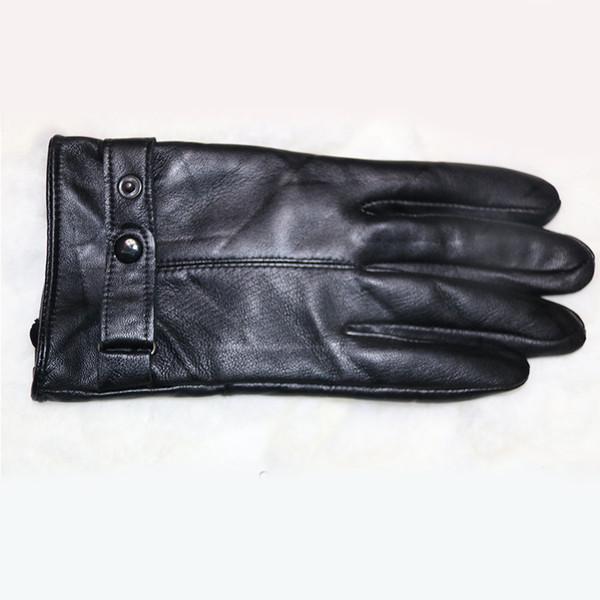 Wholesale- Men Genuine Leather Gloves Outdoor Wool Sheepskin Gloves Mittens 2016 New Winter Autumn Warm Wind Suede Male Leather Fur Gloves
